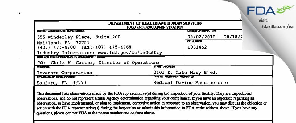 Invacare FDA inspection 483 Aug 2010