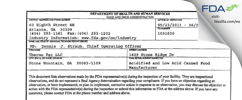 Thermo Pac FDA inspection 483 Jun 2011