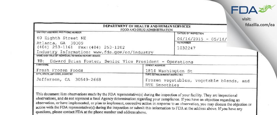 Fresh Frozen Foods FDA inspection 483 May 2015