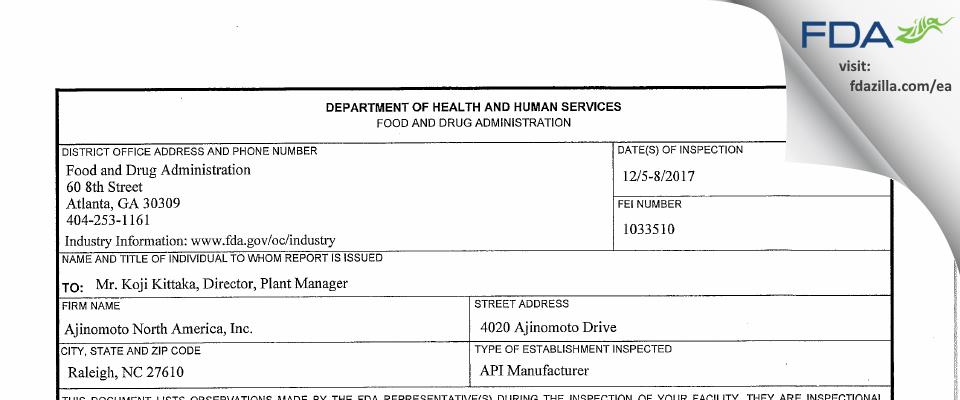 Ajinomoto North America FDA inspection 483 Dec 2017