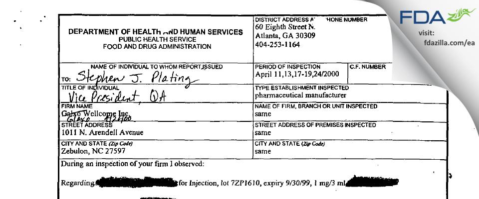 GlaxoSmithKline FDA inspection 483 Apr 2000