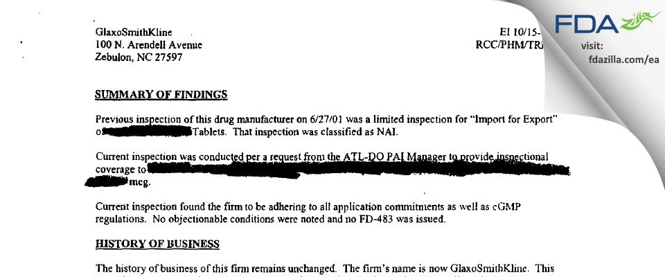 GlaxoSmithKline FDA inspection 483 Oct 2002