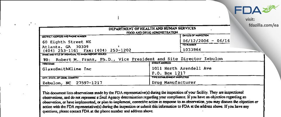 GlaxoSmithKline FDA inspection 483 Jun 2006