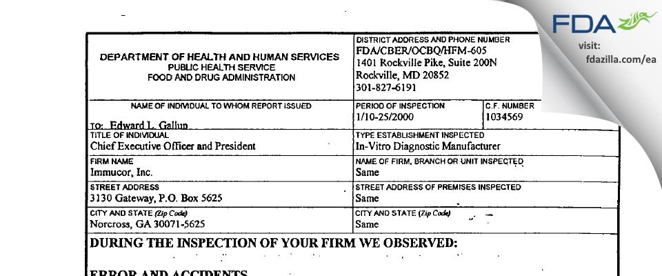 Immucor FDA inspection 483 Jan 2000