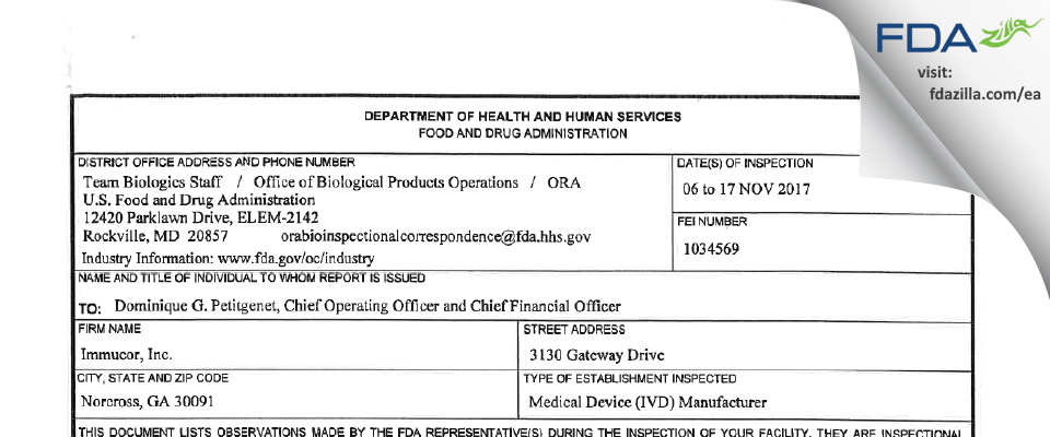 Immucor FDA inspection 483 Nov 2017