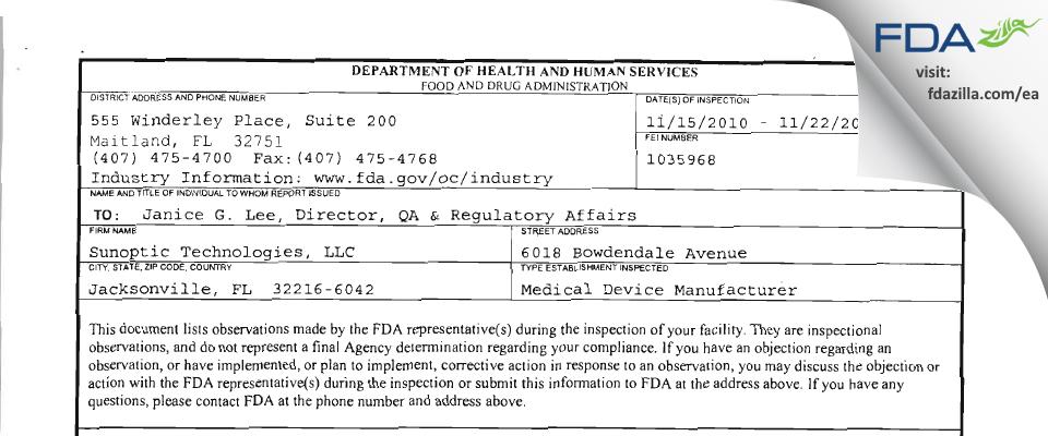 Sunoptic Technologies FDA inspection 483 Nov 2010