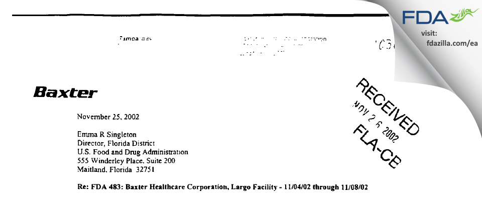 Baxter Healthcare FDA inspection 483 Nov 2002