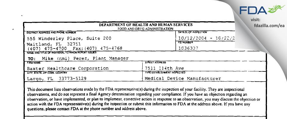 Baxter Healthcare FDA inspection 483 Oct 2004