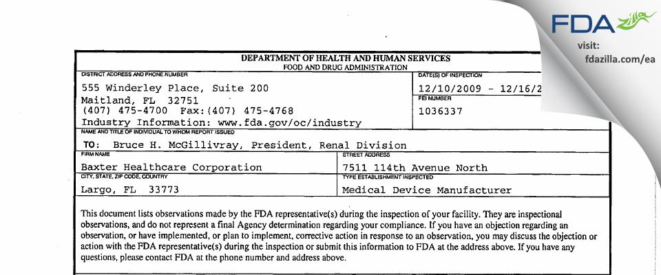 Baxter Healthcare FDA inspection 483 Dec 2009