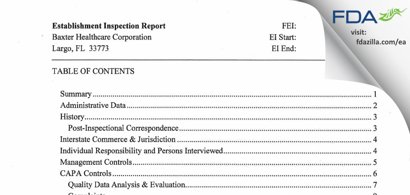 Baxter Healthcare FDA inspection 483 May 2014