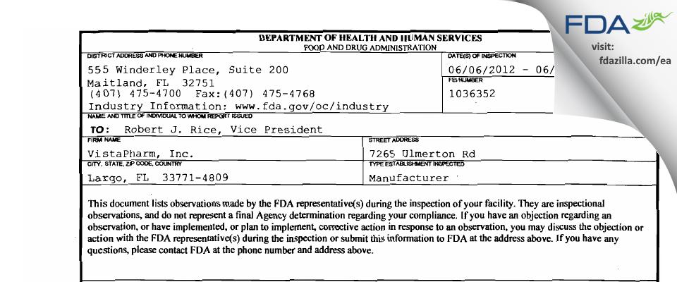 VistaPharm FDA inspection 483 Jun 2012