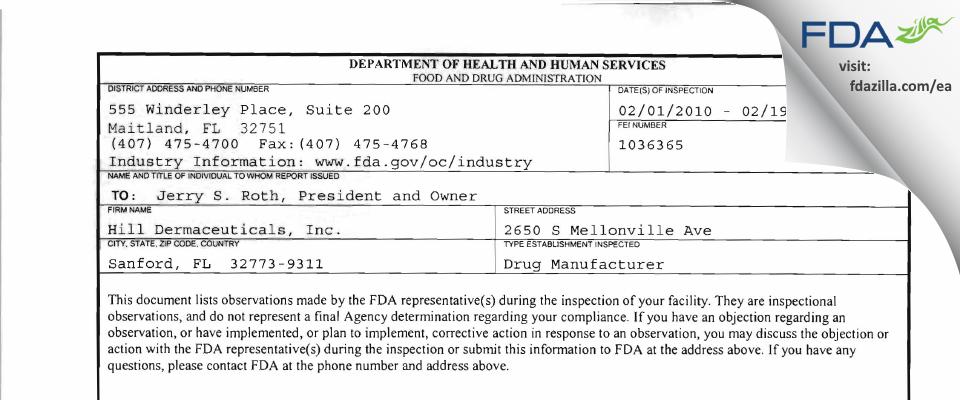 Hill Dermaceuticals FDA inspection 483 Feb 2010