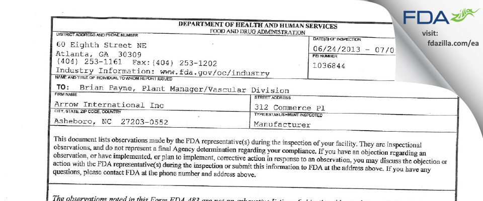 Arrow International FDA inspection 483 Jul 2013