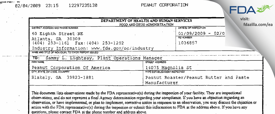 Peanut Of America FDA inspection 483 Feb 2009