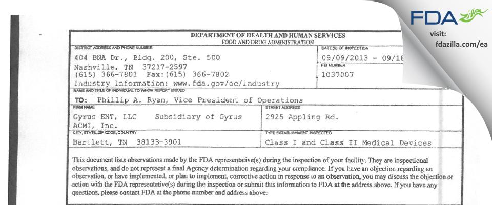 Gyrus ACMI FDA inspection 483 Sep 2013