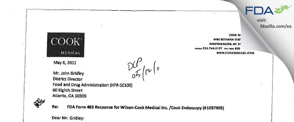 Wilson-Cook Medical (Cook Endoscopy) FDA inspection 483 Apr 2011