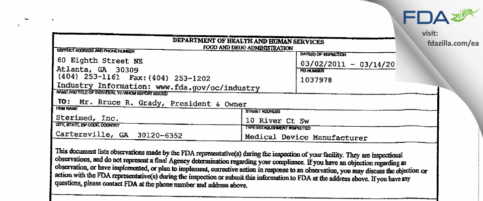 Sterimed FDA inspection 483 Mar 2011