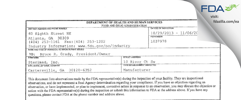 Sterimed FDA inspection 483 Nov 2013