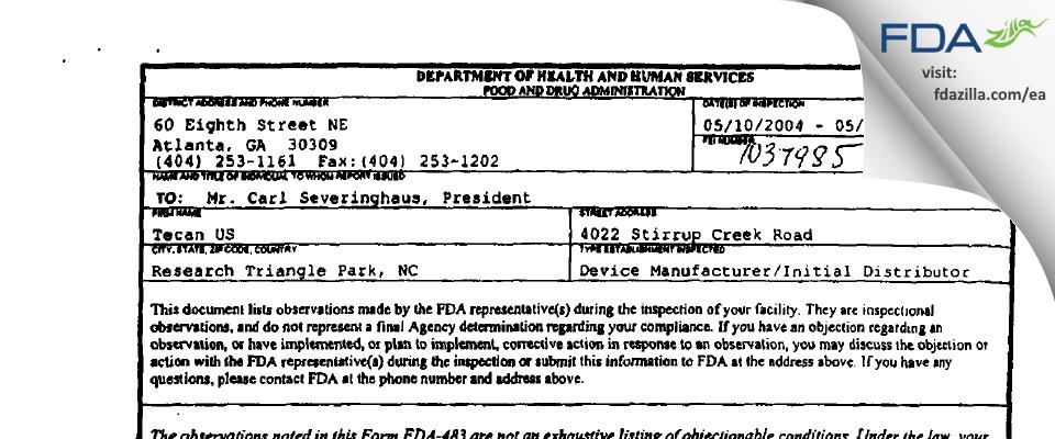 Tecan US FDA inspection 483 May 2004