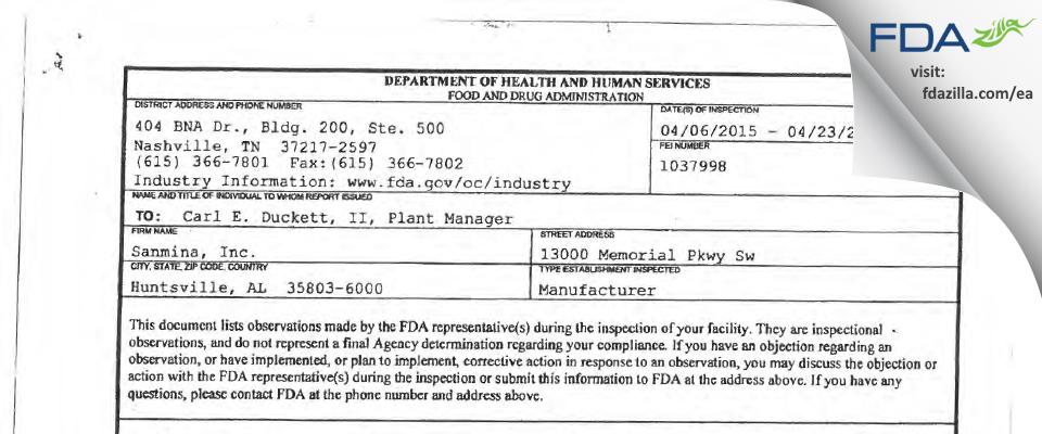 Sanmina Huntsville AL FDA inspection 483 Apr 2015
