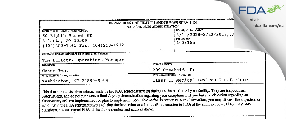 Coeur FDA inspection 483 Mar 2018