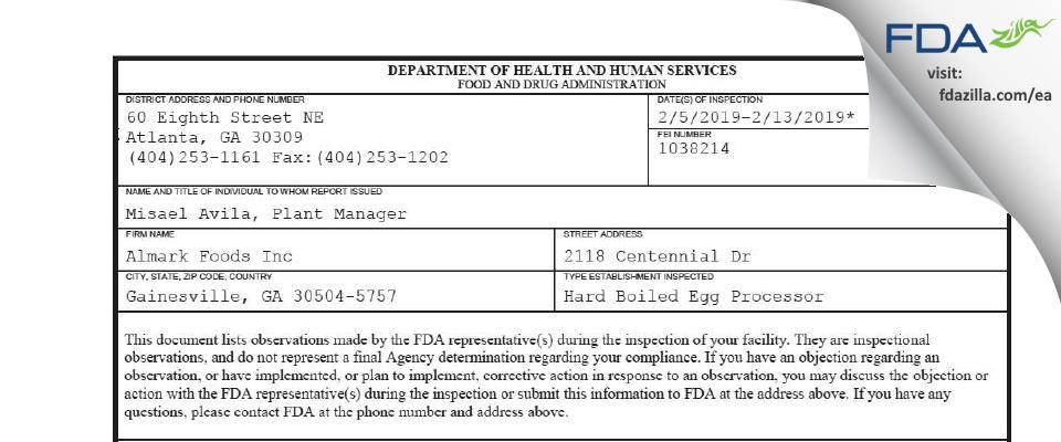 Almark Foods FDA inspection 483 Dec 2019