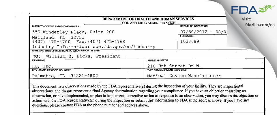 HQ FDA inspection 483 Aug 2012