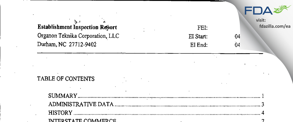 Organon Teknika FDA inspection 483 Apr 2007