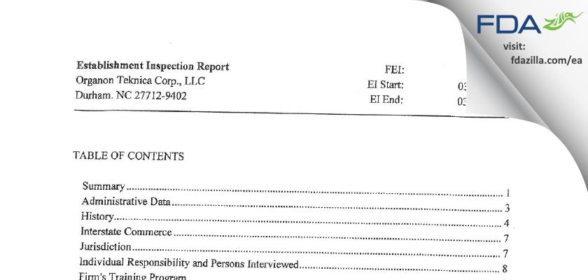 Organon Teknika FDA inspection 483 Mar 2013