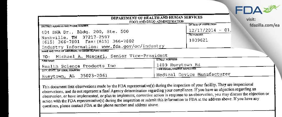 Health Science Products FDA inspection 483 Jan 2015