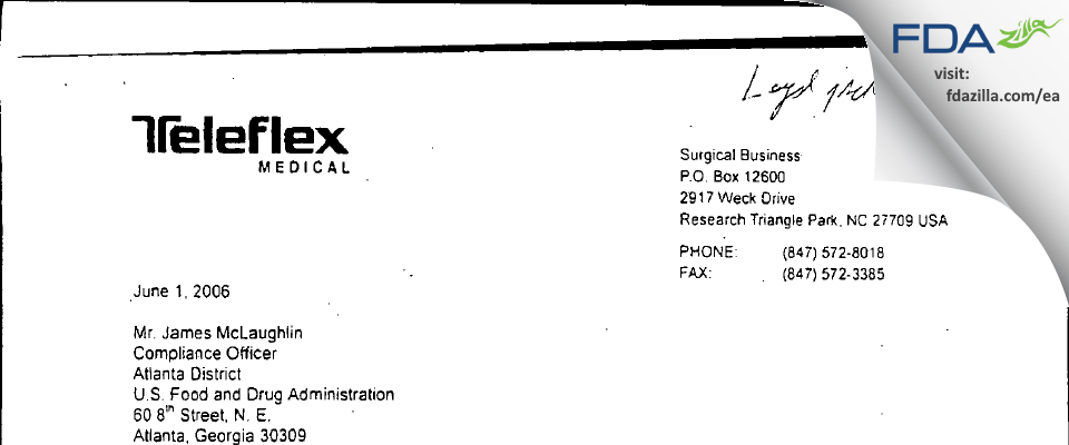 Teleflex Medical FDA inspection 483 May 2006