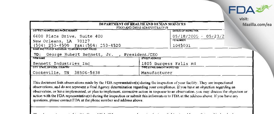Bennett Industries FDA inspection 483 May 2005