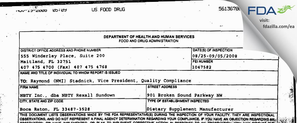 Rexall Sundown FDA inspection 483 Sep 2008