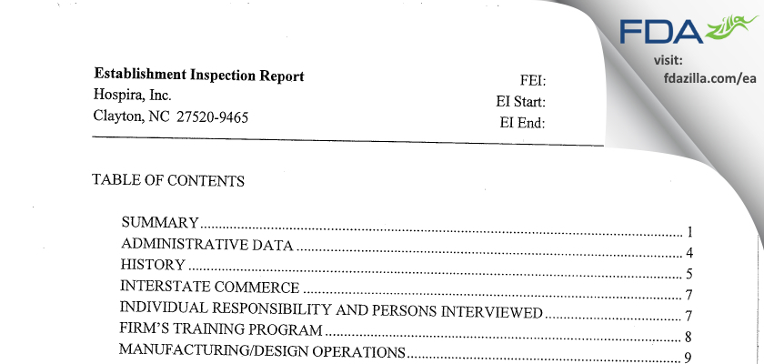 Hospira FDA inspection 483 Apr 2009