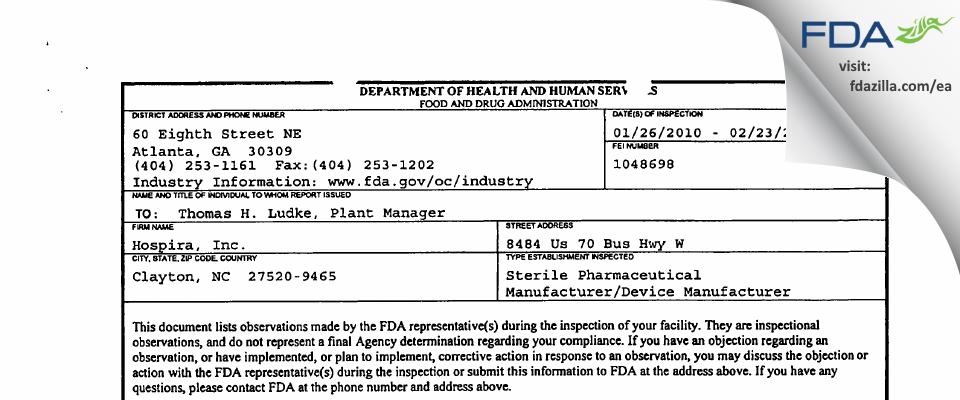 Hospira FDA inspection 483 Feb 2010