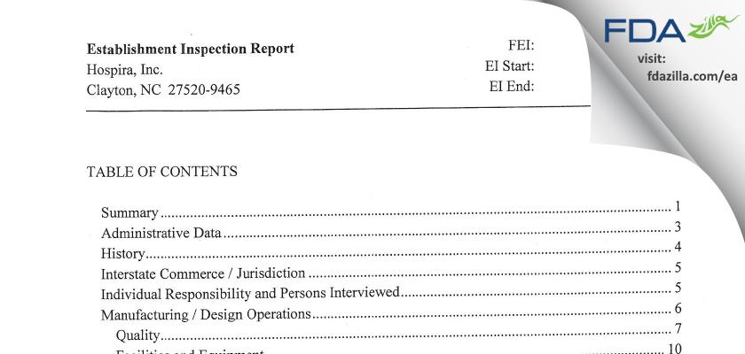 Hospira FDA inspection 483 Jul 2012