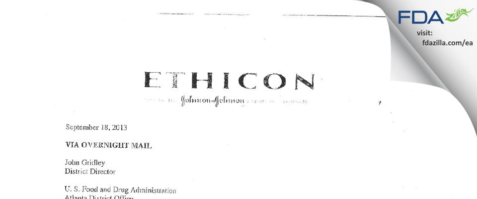 Ethicon FDA inspection 483 Aug 2013