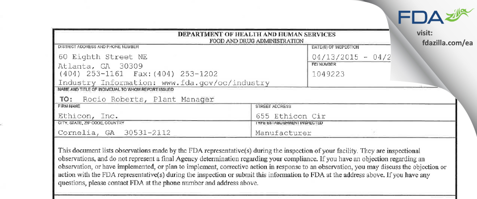 Ethicon FDA inspection 483 Apr 2015