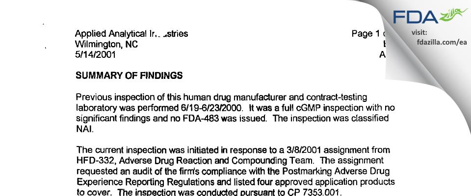 Alcami Carolinas FDA inspection 483 May 2001