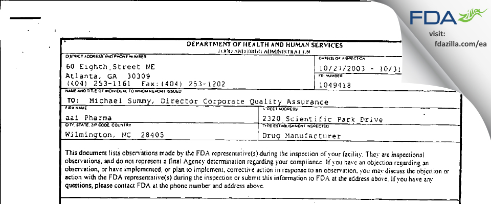 Alcami Carolinas FDA inspection 483 Oct 2003