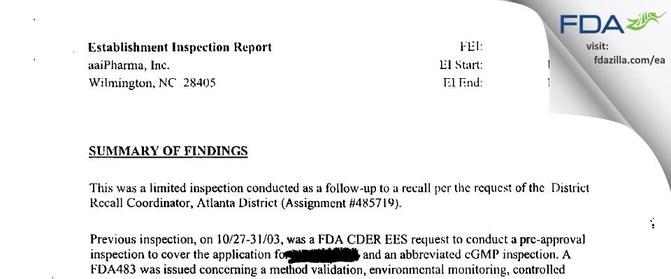 Alcami Carolinas FDA inspection 483 Dec 2003