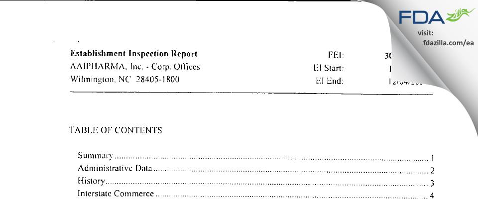 Alcami Carolinas FDA inspection 483 Dec 2009