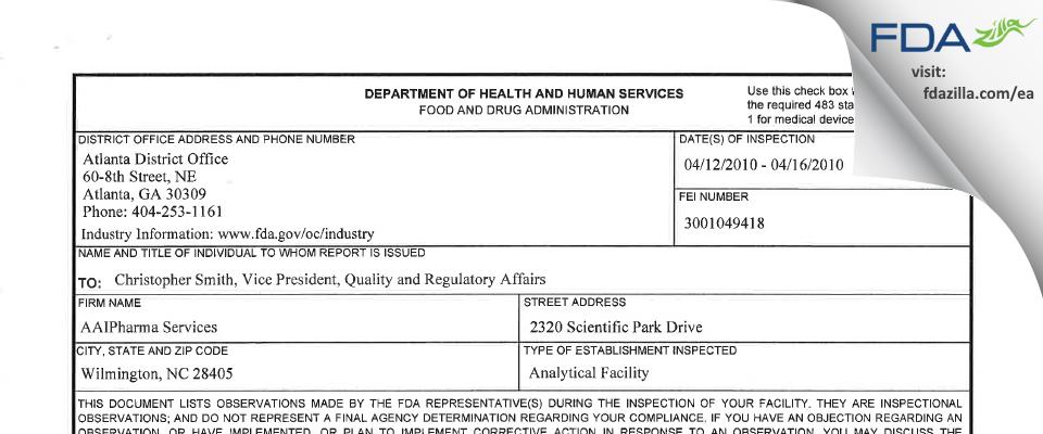 Alcami Carolinas FDA inspection 483 Apr 2010