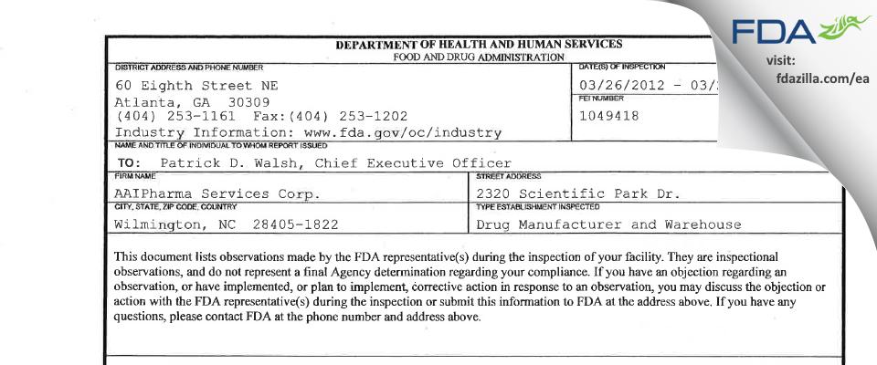 Alcami Carolinas FDA inspection 483 Mar 2012