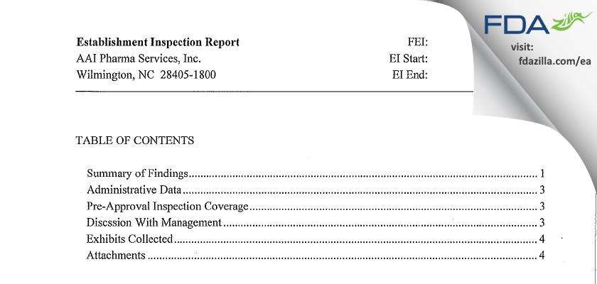 Alcami Carolinas FDA inspection 483 May 2013