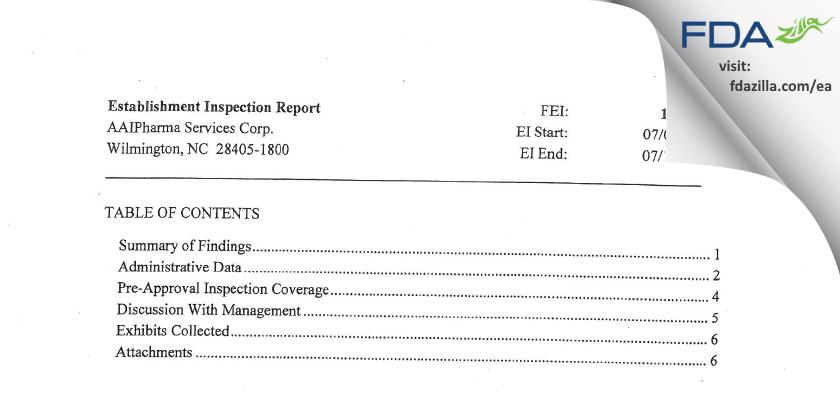 Alcami Carolinas FDA inspection 483 Jul 2014