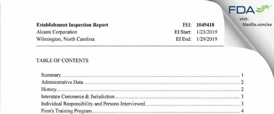 Alcami Carolinas FDA inspection 483 Jan 2019