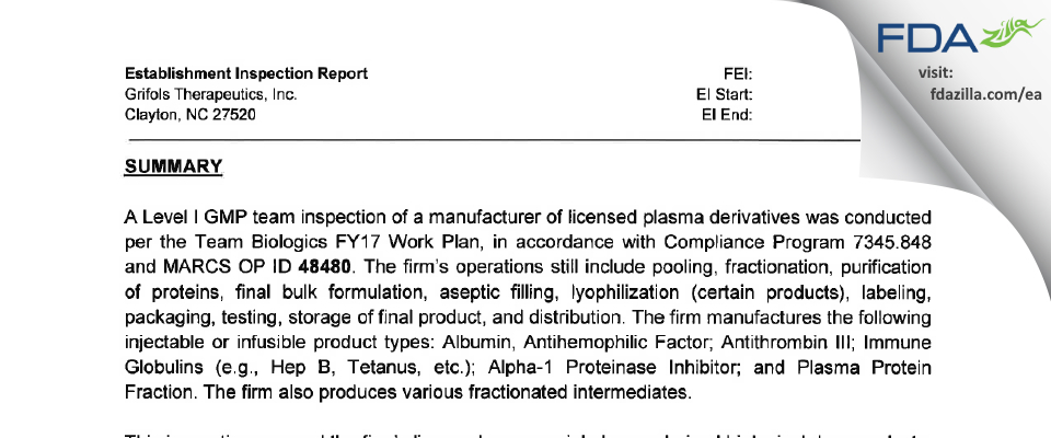 Grifols Therapeutics FDA inspection 483 Oct 2016