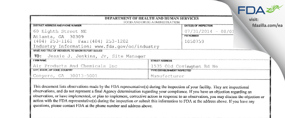 Air Products And Chemicals FDA inspection 483 Aug 2014