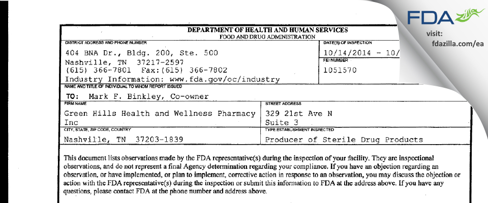 Green Hills Health and Wellness Pharmacy FDA inspection 483 Oct 2014